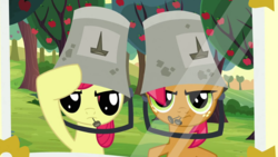 Size: 1920x1080 | Tagged: apple bloom, apple family reunion, babs seed, bucket, cousins, female, filly, mouth hold, nails, pony, safe, salute, screencap