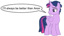 Size: 1490x850   Tagged: safe, twilight sparkle, alicorn, pony, unicorn, dialogue, dusk shine, implied anon, rule 63, twilight sparkle (alicorn)