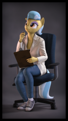 Size: 2160x3840 | Tagged: 3d, 4k resolution, anthro, artist:imafutureguitarhero, border, chair, chromatic aberration, clipboard, clothes, colored eyebrows, commission, converse, doctor fauna, earth pony, eyeshadow, female, film grain, floppy ears, high res, jeans, lab coat, makeup, mare, office chair, pants, pen, plantigrade anthro, raised eyebrow, safe, shoes, signature, sneakers, solo, source filmmaker, thinking, vertical