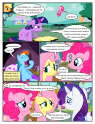 Size: 612x792 | Tagged: safe, artist:newbiespud, edit, edited screencap, screencap, applejack, fluttershy, pinkie pie, rainbow dash, rarity, twilight sparkle, earth pony, pegasus, pony, unicorn, comic:friendship is dragons, annoyed, book, comic, dialogue, female, freckles, jumping, mane six, mare, pillow, saddle bag, screencap comic, sitting, smiling, trampoline, unicorn twilight, upside down, worried, yawn