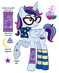 Size: 1320x1638 | Tagged: alicorn, alicorn oc, artist:flipwix, clothes, ear piercing, earring, female, glasses, jewelry, magical lesbian spawn, mare, oc, oc:nightspell (ice1517), oc only, offspring, parents:twixie, parent:trixie, parent:twilight sparkle, piercing, pony, raised hoof, safe, scarf, simple background, socks, solo, striped socks, tattoo, transparent background