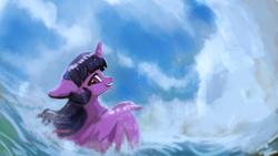 Size: 1920x1080   Tagged: safe, artist:hierozaki, twilight sparkle, alicorn, pony, female, floppy ears, happy, looking back, mare, ocean, smiling, solo, twilight sparkle (alicorn), water