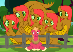 Size: 3176x2242 | Tagged: safe, artist:badumsquish, derpibooru exclusive, big macintosh, oc, earth pony, hybrid, hydra, hydra pony, monster pony, original species, pony, arm behind back, claws, crossed hooves, dreamworks face, eyes on the prize, eyeshadow, fear, female, fence, floppy ears, freckles, green eyes, grin, leaning, looking at you, makeup, male, multiple heads, nervous, open mouth, orchard, piper perri surrounded, raised tail, scared, sitting, size difference, slit pupils, smiling, sweat, sweatdrops, tail, this will end in rape, this will end in snu snu, tree, unshorn fetlocks, yoke