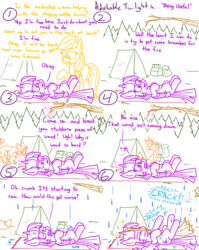 Size: 1280x1611 | Tagged: adorkable twilight, alicorn, applejack, artist:adorkabletwilightandfriends, autumn, bad luck, blanket, break, campground, camp ground, camping, comic, comic:adorkable twilight and friends, cute, dork, earth pony, fail, feather, firewood, forest, fox, funny, funny background event, glowing horn, helping, horn, humor, injured, innuendo, magic, ointment, on back, pain, poison, pony, rain, safe, slapstick, slice of life, stealing, stinging nettle, stinging nettles, telekinesis, tent, tree branch, twilight sparkle, twilight sparkle (alicorn), wood
