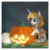 Size: 1024x1024 | Tagged: alicorn, artist:kazziepones, clothes, female, halloween, holiday, jack-o-lantern, mare, oc, oc:aurora, pony, pumpkin, safe, scarf, solo, two toned wings, wings