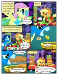 Size: 612x792 | Tagged: annoyed, applejack, artist:newbiespud, bit, bucket, clothes, comic, comic:friendship is dragons, dialogue, dress, earth pony, edited screencap, female, fluttershy, food, food stand, freckles, gala dress, goggles, hat, male, mare, mouth hold, pastry, pegasus, pie, pointing, pony, raised hoof, safe, screencap, screencap comic, shop stand, smiling, soarin', stallion, tack, the best night ever, uniform, wonderbolts, wonderbolts uniform