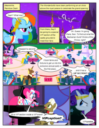 Size: 612x792 | Tagged: artist:newbiespud, background pony, blaze, blue moon (g4), bowtie, caesar, clothes, comic, comic:friendship is dragons, count caesar, dialogue, earth pony, edit, edited screencap, female, fire streak, fleetfoot, flying, frederic horseshoepin, goggles, hat, jewelry, laurel wreath, lemon hearts, lightning bolt, looking up, lyrica lilac, male, mare, minuette, misty fly, monocle, musical instrument, night, open mouth, pegasus, piano, pinkie pie, pony, rainbow dash, rarity, royal ribbon, safe, screencap, screencap comic, silver lining, silver zoom, soarin', spitfire, stallion, stars, surprise, surprised, the best night ever, tiara, top hat, twilight sparkle, twinkleshine, unicorn, unicorn twilight, uniform, white lightning, wonderbolts, wonderbolts uniform, worried