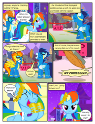 Size: 612x792 | Tagged: artist:newbiespud, background pony, blue moon (g4), clothes, cloud kicker, comic, comic:friendship is dragons, derpy hooves, dialogue, dress, edited screencap, eyes closed, female, fire streak, food, gala dress, goggles, laughing, laurel wreath, lemon hearts, lightning bolt, male, mare, misty fly, night, pegasus, pie, pony, rainbow dash, safe, screencap, screencap comic, soarin', spitfire, stallion, stars, unicorn, uniform, white lightning, wonderbolts, wonderbolts uniform