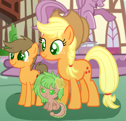 Size: 753x723 | Tagged: safe, artist:littlemissrose-yt, applejack, oc, oc:apple shine, dracony, earth pony, hybrid, pony, baby, baby dracony, base used, braid, claws, colt, cutie mark, ear fins, female, freckles, interspecies offspring, male, mare, mother and child, mother and daughter, mother and son, offspring, parent:applejack, parent:caramel, parent:spike, parents:applespike, parents:carajack, ponyville, smiling