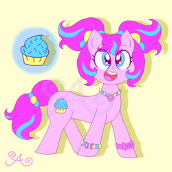 Size: 2000x2000 | Tagged: alternate hairstyle, alternate universe, artist:alannaartroid, bracelet, earth pony, female, harajuku, jewelry, mare, necklace, open mouth, pigtails, pinkie pie, pony, redesign, safe, simple background, solo, twintails, wristband, yellow background