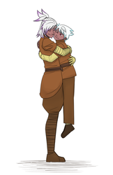 Size: 1243x1920 | Tagged: artist:nubeinvernal, clothes, cute, female, gilda, hippogriff, hug, human, humanized, humanized oc, interspecies offspring, lifting, magical lesbian spawn, male, matching outfits, mom gilda, mother and son, oc, oc:gren, offspring, parent:gilda, parent:rainbow dash, parents:gildash, safe, simple background, white background