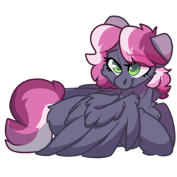 Size: 2000x2000 | Tagged: artist:spoopygander, butt fluff, chest fluff, cute, eyelashes, female, freckles, looking up, mare, markings, multicolored hair, oc, pegasus, pony, safe, smiling, unshorn fetlocks, wing fluff, wings