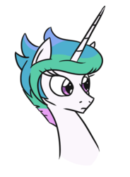 Size: 404x549 | Tagged: alicorn, alternate hairstyle, artist:jargon scott, bust, cute, cutelestia, female, frown, mare, pony, princess celestia, safe, short hair, simple background, solo, white background
