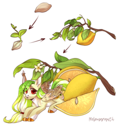 Size: 3792x3976 | Tagged: artist:helemaranth, female, flower, food, leaves, lemon, looking at you, mare, oc, oc:lemony light, open mouth, pegasus, pony, rcf community, safe, seed, solo