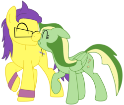 Size: 1152x976 | Tagged: artist:didgereethebrony, couple, cute, cutie mark, doomerang, earth pony, glasses, oc, oc:boomerang beauty, oc:doodley, oc x oc, pegasus, pony, safe, scrunchy face, shipping, simple background, sweatband, transparent background