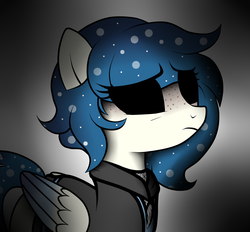 Size: 1400x1300 | Tagged: artist:arrgus-korr, base used, clothes, dark, dark background, dark eyes, distressed, female, jacket, oc, pegasus, pony, safe, solo