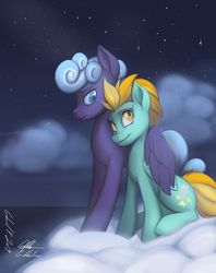 Size: 1965x2480 | Tagged: safe, artist:gabbslines, lightning dust, rolling thunder, pegasus, pony, fanfic:an imperfect storm, cloud, cover art, cute, eye scar, female, hug, lesbian, mare, night, night sky, scar, shipping, sitting, sky, stars, thunder and lightning, winghug