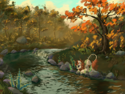 Size: 2048x1536 | Tagged: safe, artist:tinybenz, autumn blaze, kirin, autumn, cloven hooves, colored hooves, crouching, female, flower, foal's breath, forest, quadrupedal, river, scenery, scenery porn, solo, stream, tree, water