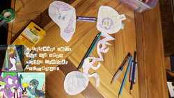 Size: 1152x648 | Tagged: colored pencils, crayons, cutouts, dragon, dragon dropped, edit, gabby, gramophone, griffon, mechanical pencil, mlp s9 countdown, no artist, photo, photoshop, pony, ransom, ransom note, rarity, safe, sketch, spike, spoiler:s09e19, tape, unicorn