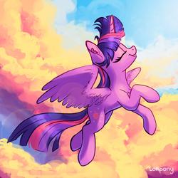 Size: 1000x1000 | Tagged: safe, artist:lollipony, twilight sparkle, alicorn, pony, cloud, cute, ear fluff, eyes closed, female, flying, mare, profile, scenery, sky, smiling, solo, spread wings, twiabetes, twilight sparkle (alicorn), wings