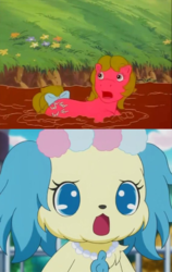 Size: 1024x1619 | Tagged: anime, artist:mega-poneo, baby shady, crossover, dog, earth pony, female, g1, jewelpet, mare, meme, mud, pony, safe, sapphie, stuck, woe is me, worried