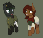 Size: 904x789 | Tagged: safe, artist:thehuskylord, oc, oc:concord grape, oc:swift victory, earth pony, pony, unicorn, ammo pouch, boots, clothes, digital art, hat, scarf, shoes, simple background, uniform