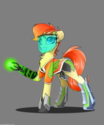 Size: 2500x3000 | Tagged: amputee, artist:skitsniga, clothes, cute, cutie mark, earth pony, female, gray background, mare, oc, oc only, oc:rusty gears, pony, prosthetic limb, prosthetics, safe, simple background, smiling, socks, solo