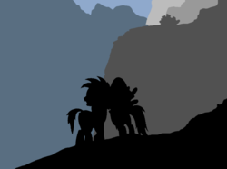 Size: 1008x749 | Tagged: artist:didgereethebrony, cliff, colored, daring do, didgeree collection, flat colors, kanangra boyd national park, kanangra walls, mlp in australia, oc, oc:didgeree, pegasus, pony, safe, silhouette, valley