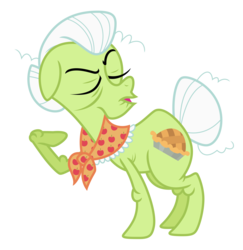 Size: 6889x7100 | Tagged: absurd res, artist:estories, eyes closed, frizzy hair, granny smith, hair bun, open mouth, pony, raised hoof, safe, simple background, solo, tail bun, transparent background, vector