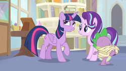 Size: 1600x900 | Tagged: a horse shoe-in, alicorn, bookshelf, door, dragon, female, mare, paper, picture frame, pony, safe, screencap, spike, spoiler:s09e20, starlight glimmer, table, twilight sparkle, twilight sparkle (alicorn), window, winged spike