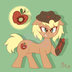 Size: 2000x2000 | Tagged: alternate hairstyle, alternate universe, amputee, applejack, artist:alannaartroid, cowboy hat, cyborg, earth pony, female, freckles, green background, grin, gun, hat, mare, pony, prosthetic limb, prosthetics, redesign, safe, simple background, smiling, solo, weapon