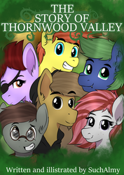 Size: 558x790 | Tagged: artist:almond evergrow, book cover, cover, fanfic art, fanfic:story of thornwood valley, oc, oc:almond evergrow, pony, safe