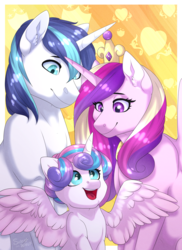 Size: 1230x1690 | Tagged: alicorn, artist:silentwolf-oficial, cute, cutedance, ear fluff, family, female, filly, flurrybetes, male, mare, open mouth, pony, princess cadance, princess flurry heart, safe, shining adorable, shining armor, smiling, spread wings, stallion, unicorn, wings