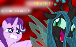 Size: 1600x1000 | Tagged: safe, artist:cheezedoodle96, edit, queen chrysalis, starlight glimmer, changeling, changeling queen, pony, unicorn, to where and back again, crazylis, female, mare, phyllis no!, vector
