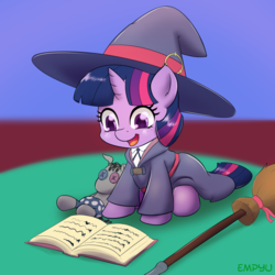Size: 1000x1000 | Tagged: safe, artist:empyu, smarty pants, twilight sparkle, pony, unicorn, anime, book, broom, clothes, cosplay, costume, crossover, cute, daaaaaaaaaaaw, female, filly, filly twilight sparkle, hat, little witch academia, oversized clothes, plushie, reading, smiling, solo, that pony sure does love books, toy, twiabetes, unicorn twilight, witch hat, younger