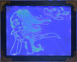 Size: 1857x1511 | Tagged: safe, artist:ashenonedreamer, artist:bugplayer, artist:irfp250n, trixie, pony, unicorn, cape, clothes, craft, engraving, female, hat, led, mare, raised hoof, solo, story included, traditional art, trixie's cape, trixie's hat, wind, windswept mane