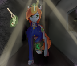 Size: 2100x1800 | Tagged: artist:rayrii, clothes, fallout equestria, fanfic, fanfic art, female, glowing horn, gun, handgun, hooves, horn, levitation, little macintosh, magic, mare, oc, oc:littlepip, oc only, pipbuck, pony, raised hoof, revolver, safe, solo, telekinesis, unicorn, vault suit, weapon