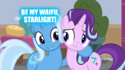 Size: 1920x1080 | Tagged: safe, edit, edited screencap, screencap, starlight glimmer, trixie, pony, unicorn, a horse shoe-in, discovery family logo, duo, female, lesbian, mare, shipping, startrix, waifu
