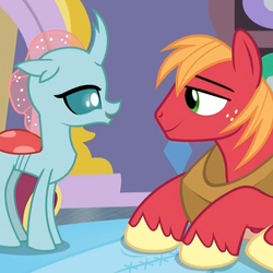 Size: 901x901 | Tagged: safe, screencap, big macintosh, ocellus, changedling, changeling, earth pony, pony, a horse shoe-in, cropped, eye contact, female, lidded eyes, looking at each other, lying down, male, out of context, stallion, student and teacher, teenager