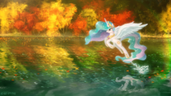 Size: 1920x1080 | Tagged: alicorn, alternate version, artist:939163156, autumn, cute, cutelestia, female, lake, leaves, mare, open mouth, pony, princess celestia, pronking, safe, scenery, solo, splash, spread wings, sunset, wings
