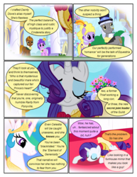Size: 612x792 | Tagged: safe, artist:newbiespud, edit, edited screencap, screencap, caesar, count caesar, lyrica lilac, princess celestia, purple wave, rarity, alicorn, earth pony, pony, unicorn, comic:friendship is dragons, background pony, big crown thingy, bowing, chocolate tail, comic, dialogue, ethereal mane, eyes closed, female, flower, hat, jewelry, male, mare, monocle, necklace, pearl necklace, regalia, rose, screencap comic, stallion, top hat, worried
