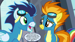 Size: 1280x720 | Tagged: clothes, edit, edited screencap, goggles, implied rarity, pony, rainbow dash, rarity investigates, safe, screencap, sherlock holmes, soarin', speech, speech bubble, spitfire, uniform, wonderbolts uniform