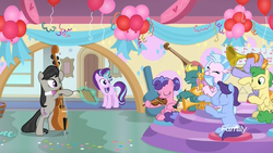Size: 1920x1080 | Tagged: safe, screencap, auburn vision, berry blend, berry bliss, end zone, huckleberry, november rain, octavia melody, silverstream, starlight glimmer, classical hippogriff, earth pony, hippogriff, pegasus, pony, unicorn, a horse shoe-in, spoiler:s09e20, band, blowing, cello, clarinet, classroom, discovery family logo, eyes closed, female, friendship student, glowing horn, hoof hold, horn, magic, magic aura, male, mare, musical instrument, puffy cheeks, saxophone, school of friendship, sitting, stallion, teenager, telekinesis, triangle, trombone, trumpet, violin
