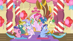 Size: 1920x1080 | Tagged: safe, screencap, auburn vision, berry blend, berry bliss, end zone, huckleberry, november rain, pinkie pie, silverstream, classical hippogriff, earth pony, hippogriff, pegasus, pony, unicorn, a horse shoe-in, spoiler:s09e20, band, clarinet, classroom, dexterous hooves, discovery family logo, door, female, friendship student, frown, gasp, grimace, gritted teeth, hoof hold, interrupted, male, mare, musical instrument, noisy, open mouth, saxophone, scared, school of friendship, shocked, shrunken pupils, sitting, stallion, surprised, teenager, triangle, trombone, trumpet, violin, wide eyes, yovidaphone
