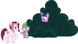 Size: 2529x1449 | Tagged: artist:sonofaskywalker, bush, cayenne, safe, scrunchy face, simple background, spike, spoiler:s09e05, the point of no return, transparent background, twilight sparkle, unicorn, vector