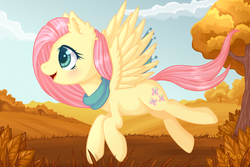 Size: 3000x2000 | Tagged: artist:0okami-0ni, autumn, blushing, clothes, cute, cutie mark, female, fluttershy, flying, grass, mare, open mouth, outdoors, pegasus, pony, profile, safe, scarf, shyabetes, sky, smiling, solo, spread wings, tree, wings