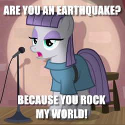 Size: 521x523 | Tagged: caption, clothes, cropped, earth pony, edit, edited screencap, female, image macro, mare, maud pie, microphone, pickup lines, pony, pun, safe, screencap, solo, text, the maud couple
