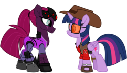 Size: 8922x5114 | Tagged: alicorn, artist:ejlightning007arts, boots, crossover, eye scar, female, hat, lesbian, looking at each other, overwatch, ponytail, safe, scar, shipping, shoes, simple background, sniper, sunglasses, team fortress 2, tempestlight, tempest shadow, transparent background, twilight sniper, twilight sparkle, twilight sparkle (alicorn), vector, watch, widowmaker, widowtempest