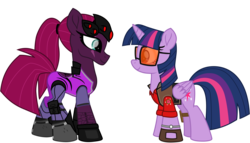 Size: 8922x5114 | Tagged: absurd res, alicorn, alternate version, artist:ejlightning007arts, boots, crossover, edit, eye scar, female, lesbian, looking at each other, overwatch, ponytail, safe, scar, shipping, shoes, simple background, sniper, sunglasses, team fortress 2, tempestlight, tempest shadow, transparent background, twilight sniper, twilight sparkle, twilight sparkle (alicorn), vector, watch, widowmaker, widowtempest