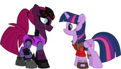 Size: 8922x5114 | Tagged: alicorn, alternate version, artist:ejlightning007arts, boots, crossover, edit, eye scar, female, lesbian, looking at each other, overwatch, ponytail, safe, scar, shipping, shoes, simple background, sniper, team fortress 2, tempestlight, tempest shadow, transparent background, twilight sniper, twilight sparkle, twilight sparkle (alicorn), vector, watch, widowmaker, widowtempest